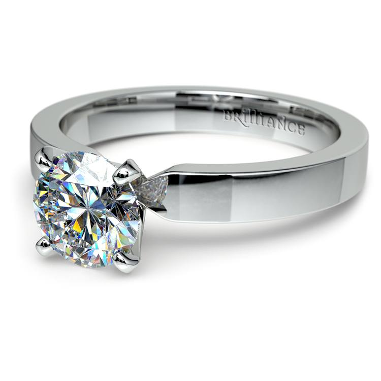 Flat Solitaire Engagement Ring In Platinum (3mm) | 04