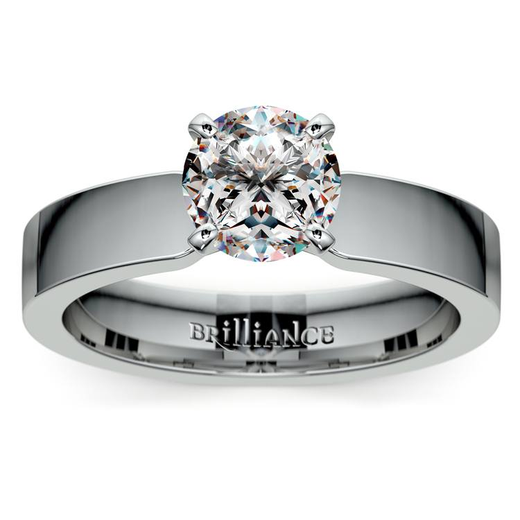 Flat Solitaire Engagement Ring In Platinum (4mm) | 01