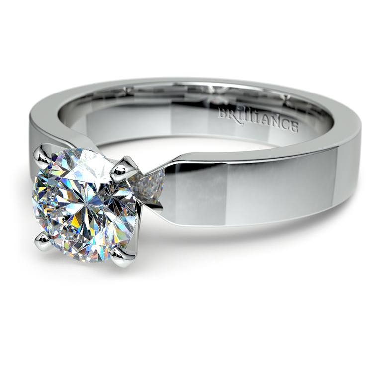 Flat Solitaire Engagement Ring In Platinum (4mm) | 04