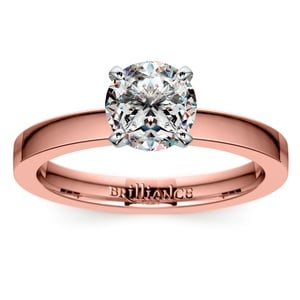 Flat Solitaire Engagement Ring In Rose Gold (2.5mm)