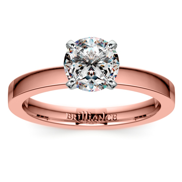 Flat Solitaire Engagement Ring In Rose Gold (2.5mm) | 01
