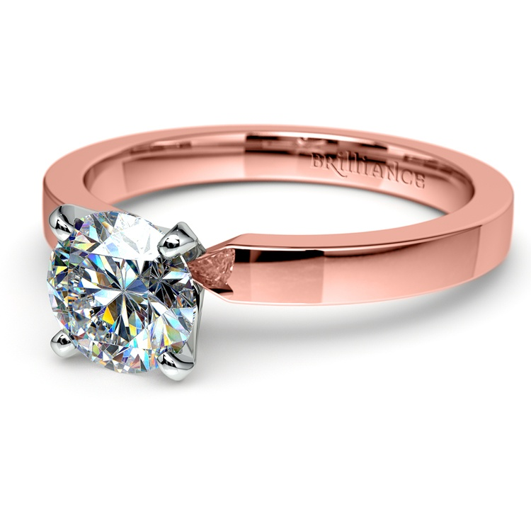 Flat Solitaire Engagement Ring In Rose Gold (2.5mm) | 04
