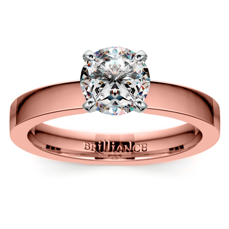 Flat Solitaire Engagement Ring In Rose Gold (3mm) | 01