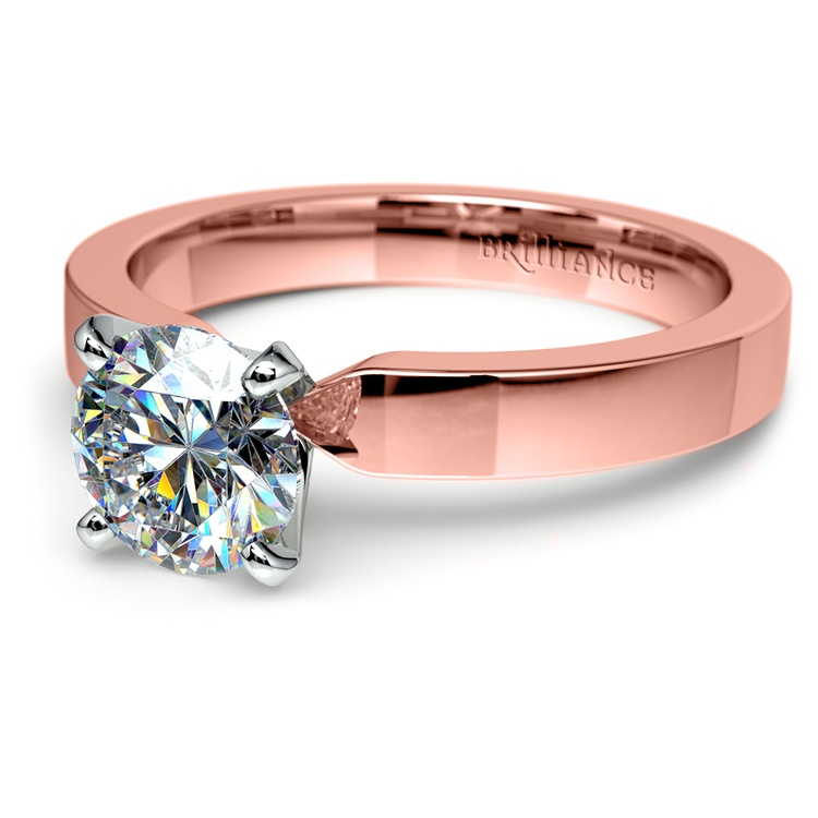Flat Solitaire Engagement Ring In Rose Gold (3mm) | 04