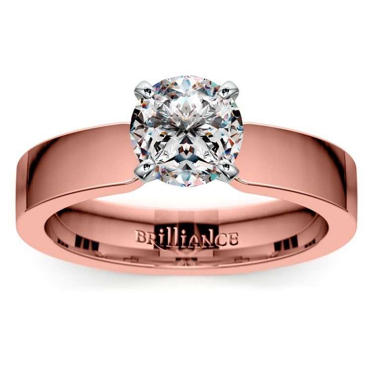 Flat Solitaire Engagement Ring In Rose Gold (4mm) | 01