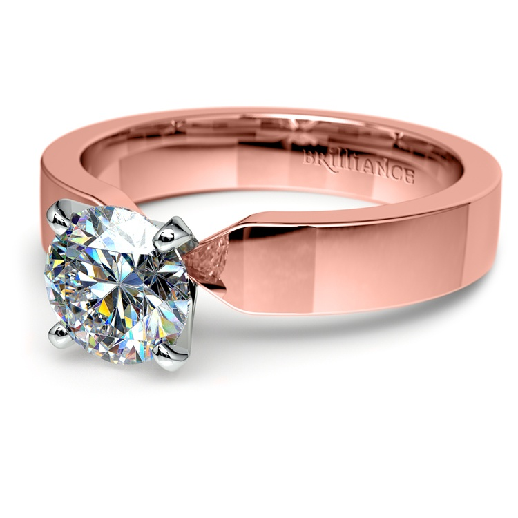 Flat Solitaire Engagement Ring In Rose Gold (4mm) | 04