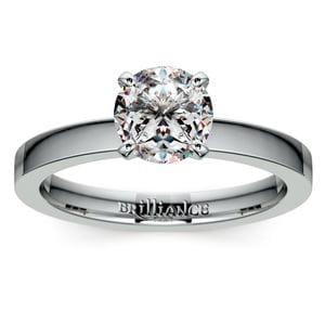 Flat Solitaire Engagement Ring in White Gold (2.5mm)