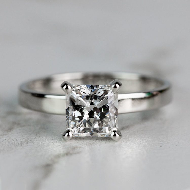 Flat Solitaire Engagement Ring in White Gold (2.5mm) | 05