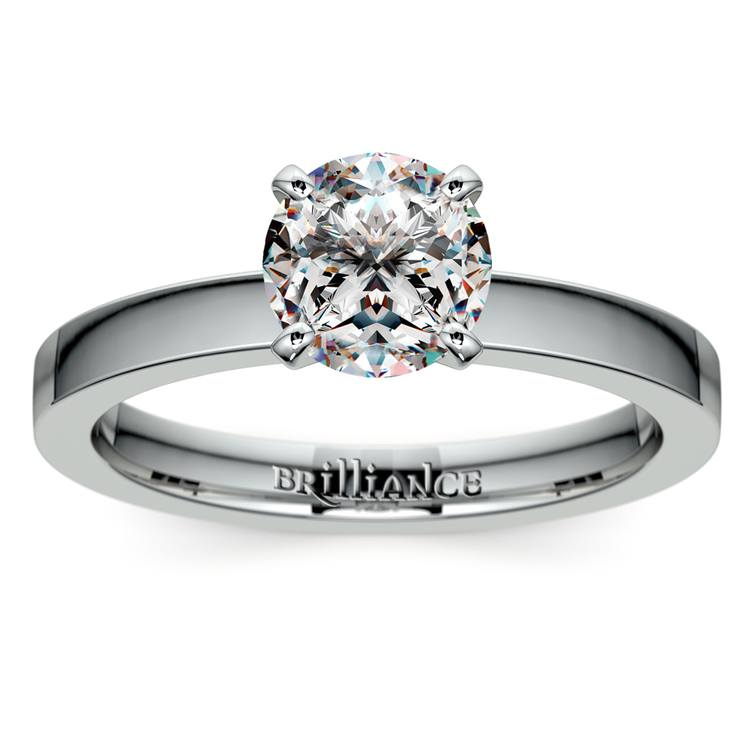 Flat Solitaire Engagement Ring in White Gold (2.5mm)   01