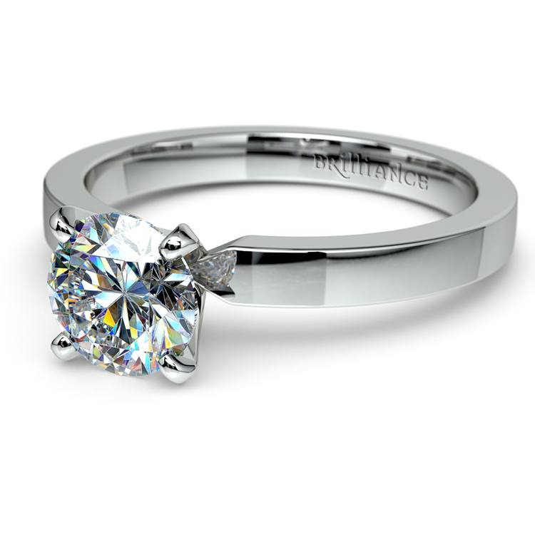 Flat Solitaire Engagement Ring in White Gold (2.5mm)   04