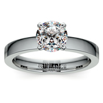Flat Solitaire Engagement Ring in White Gold (3mm) | Thumbnail 01