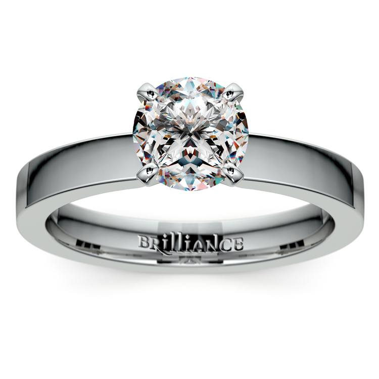 Flat Solitaire Engagement Ring in White Gold (3mm) | 01