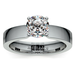 Flat Solitaire Engagement Ring In White Gold (4mm) | Thumbnail 01