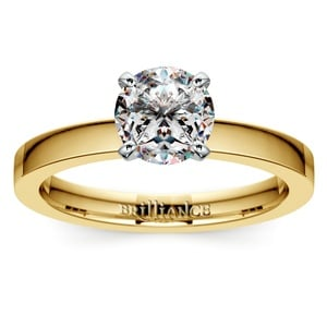 Flat Solitaire Engagement Ring in Yellow Gold (2.5mm)