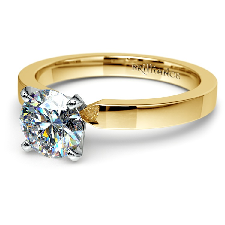 Flat Solitaire Engagement Ring in Yellow Gold (2.5mm) | 04