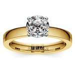 Flat Solitaire Engagement Ring in Yellow Gold (3mm) | Thumbnail 01