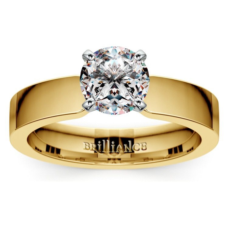Flat Solitaire Engagement Ring In Yellow Gold (4mm) | 01