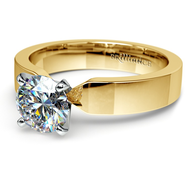 Flat Solitaire Engagement Ring In Yellow Gold (4mm) | 04