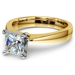 Flat Taper Princess Moissanite Engagement Ring in Yellow Gold (5.5 mm) | Thumbnail 01