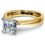Flat Taper Princess Moissanite Engagement Ring in Yellow Gold (5 mm) | Thumbnail 01