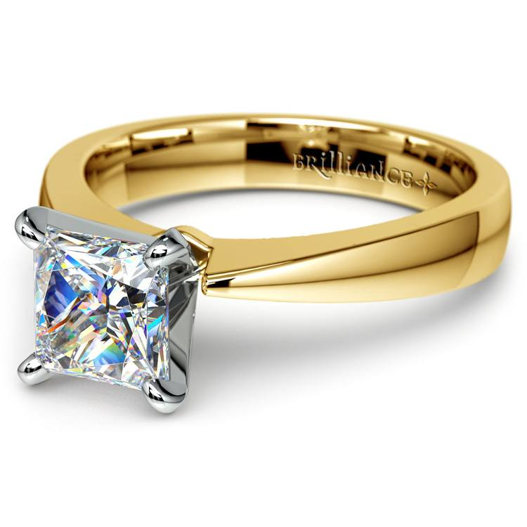 Flat Taper Princess Moissanite Engagement Ring in Yellow Gold (5 mm) | 01