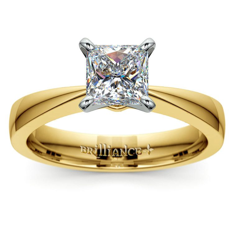 Flat Taper Princess Moissanite Engagement Ring in Yellow Gold (5 mm) | 02