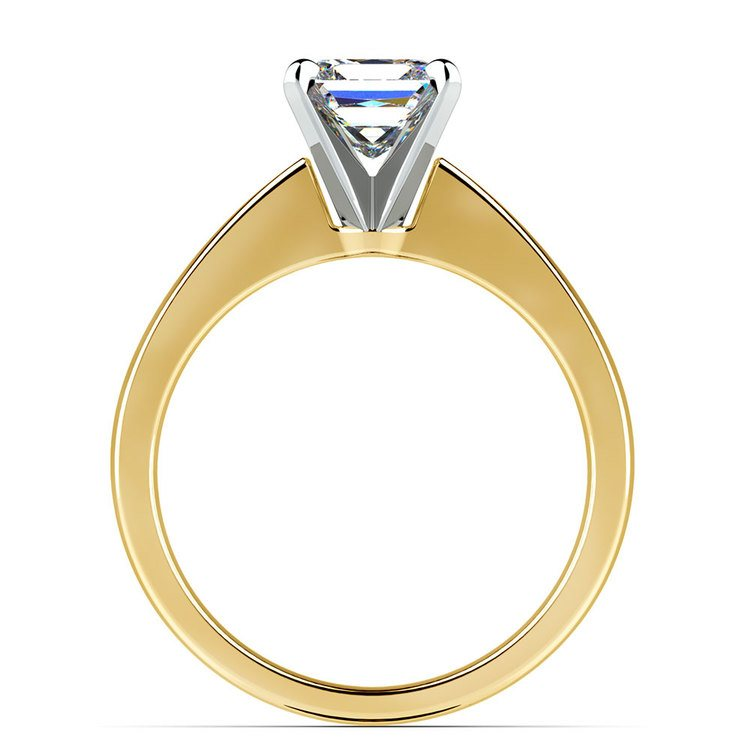 Flat Taper Princess Moissanite Engagement Ring in Yellow Gold (5 mm) | 04