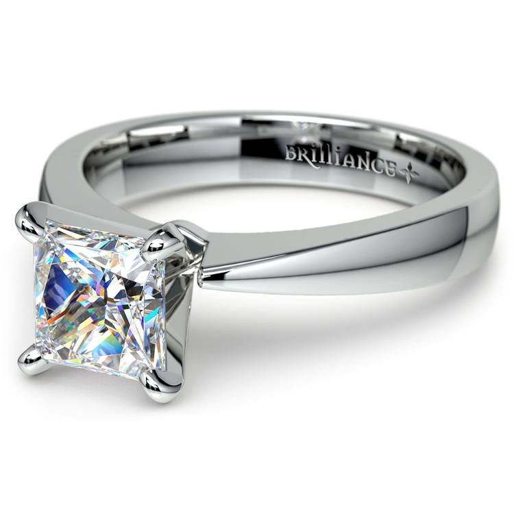 Flat Taper Princess Moissanite Engagement Ring in White Gold (6.5 mm) | 01