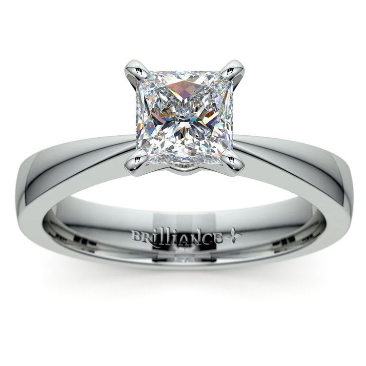 Flat Taper Princess Moissanite Engagement Ring in White Gold (6.5 mm) | 02