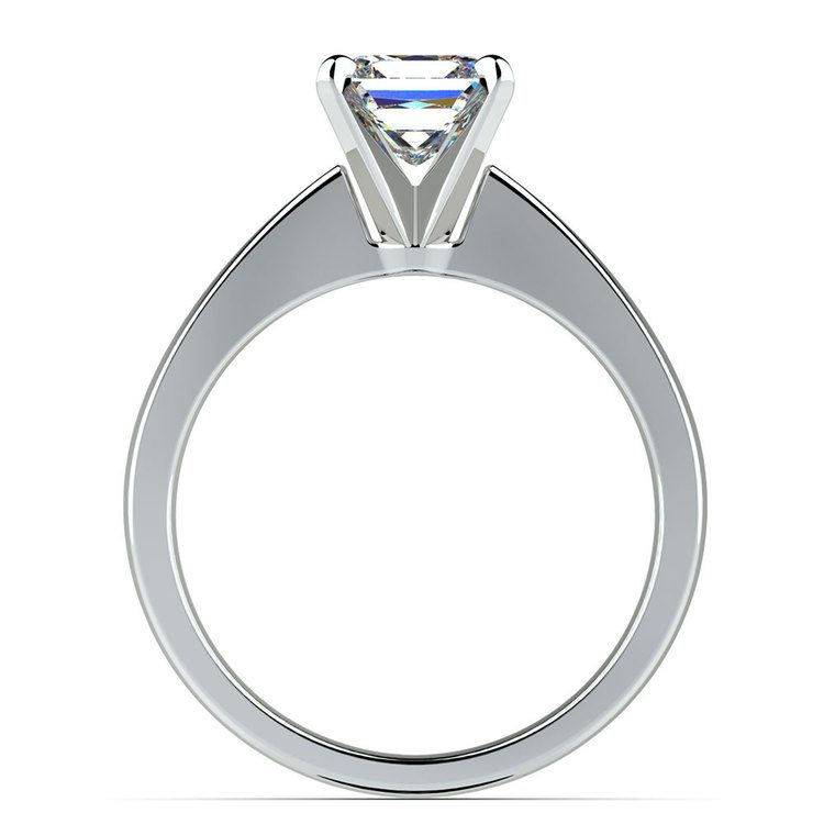 Flat Taper Princess Moissanite Engagement Ring in White Gold (6.5 mm) | 04