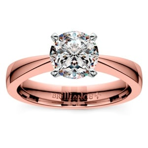 Flat Taper Solitaire Engagement Ring in Rose Gold