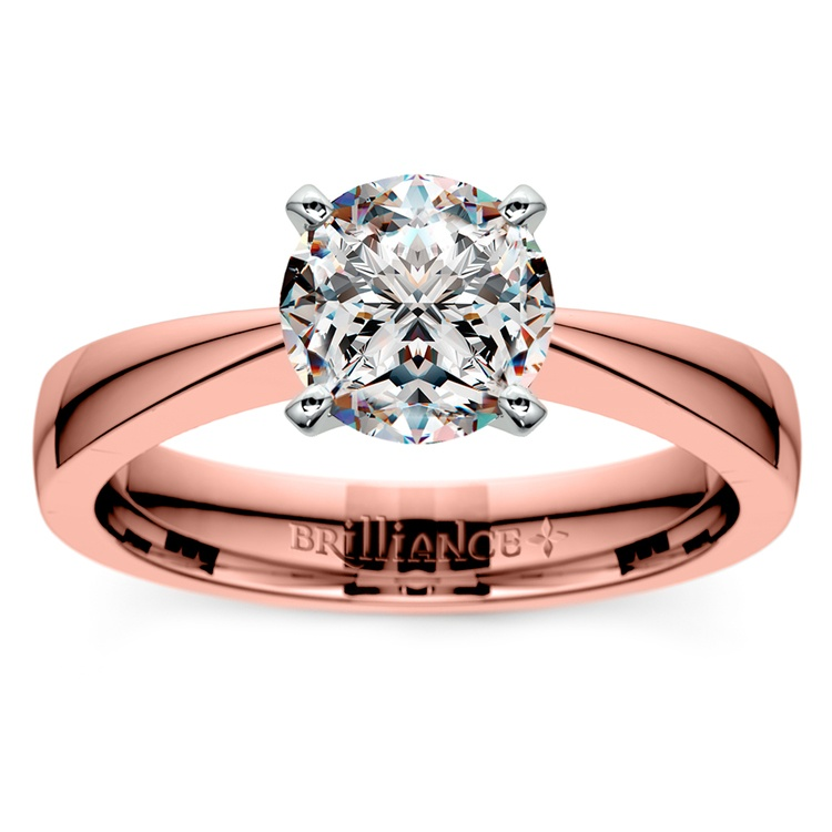 Flat Taper Solitaire Engagement Ring in Rose Gold | 01