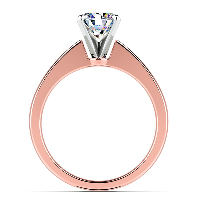 Flat Taper Solitaire Engagement Ring in Rose Gold | 02