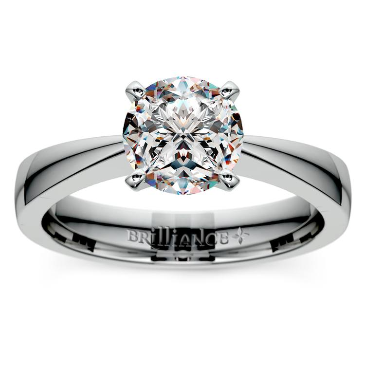 Flat Taper Solitaire Engagement Ring in White Gold | 01