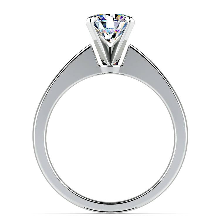 Flat Taper Solitaire Engagement Ring in White Gold | 02