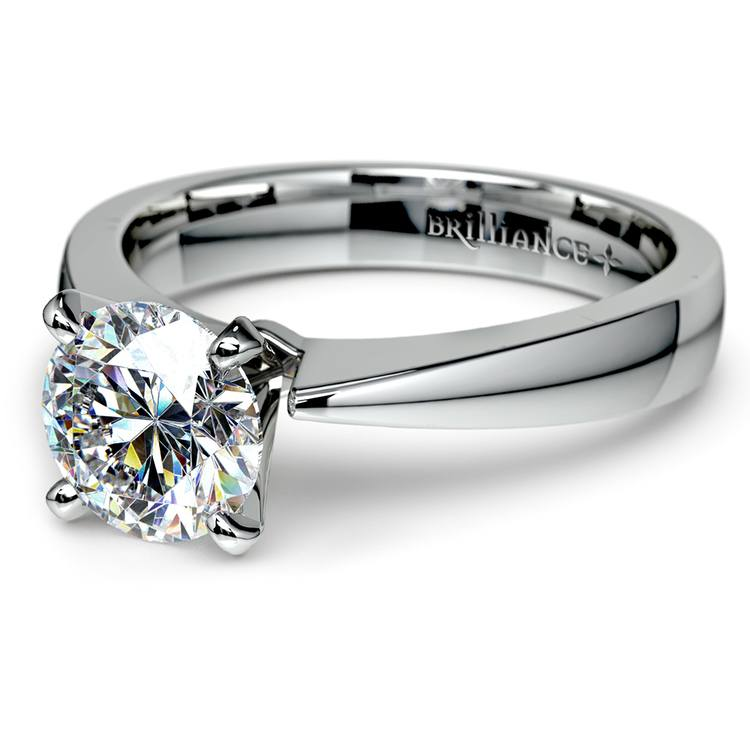 Flat Taper Solitaire Engagement Ring in White Gold | 04