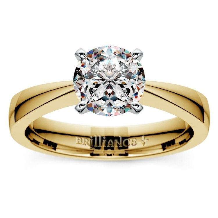 Flat Taper Solitaire Engagement Ring in Yellow Gold | 01