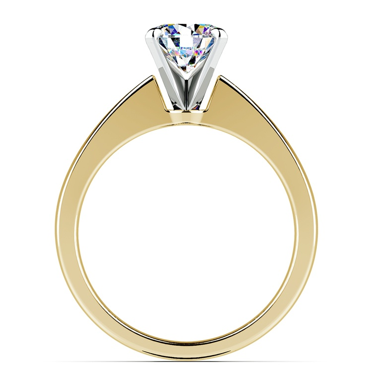 Flat Taper Solitaire Engagement Ring in Yellow Gold | 02