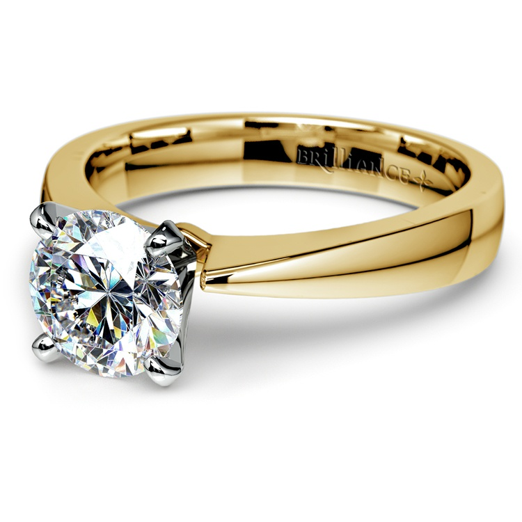 Flat Taper Solitaire Engagement Ring in Yellow Gold | 04