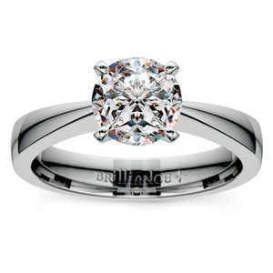 Flat Taper Solitaire Engagement Ring in Platinum