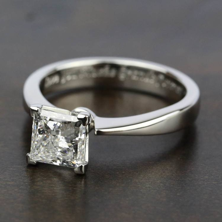 Flat Taper Solitaire Engagement Ring in Platinum | 05