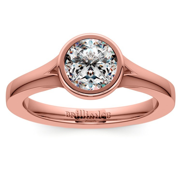 Floating Bezel Solitaire Engagement Ring in Rose Gold | 01