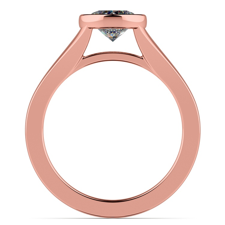 Floating Bezel Solitaire Engagement Ring in Rose Gold | 02