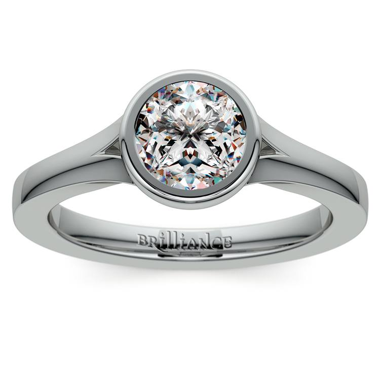 Floating Bezel Solitaire Engagement Ring in White Gold | 01