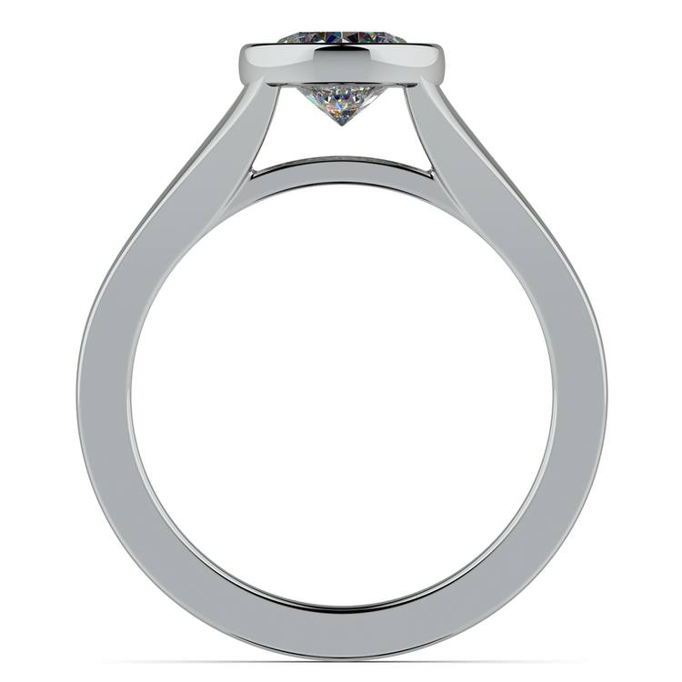 Floating Bezel Solitaire Engagement Ring in White Gold | 02