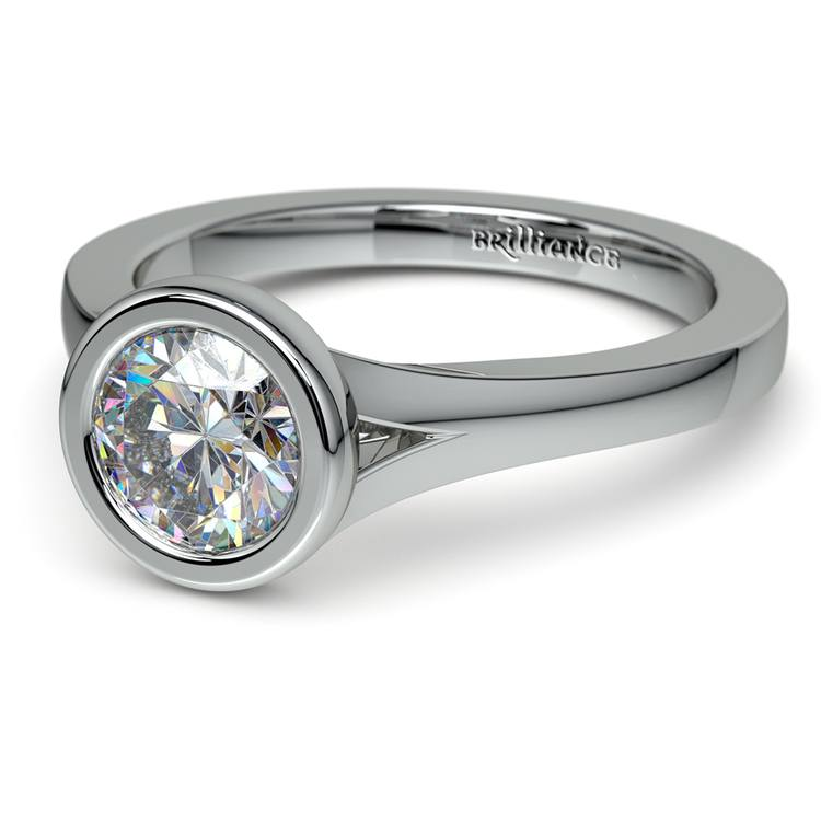 Floating Bezel Solitaire Engagement Ring in White Gold | 04