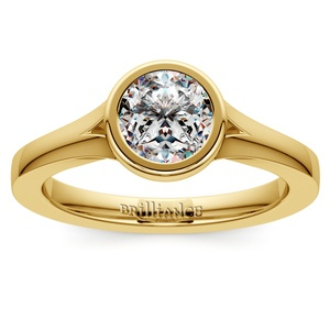 Floating Bezel Solitaire Engagement Ring in Yellow Gold