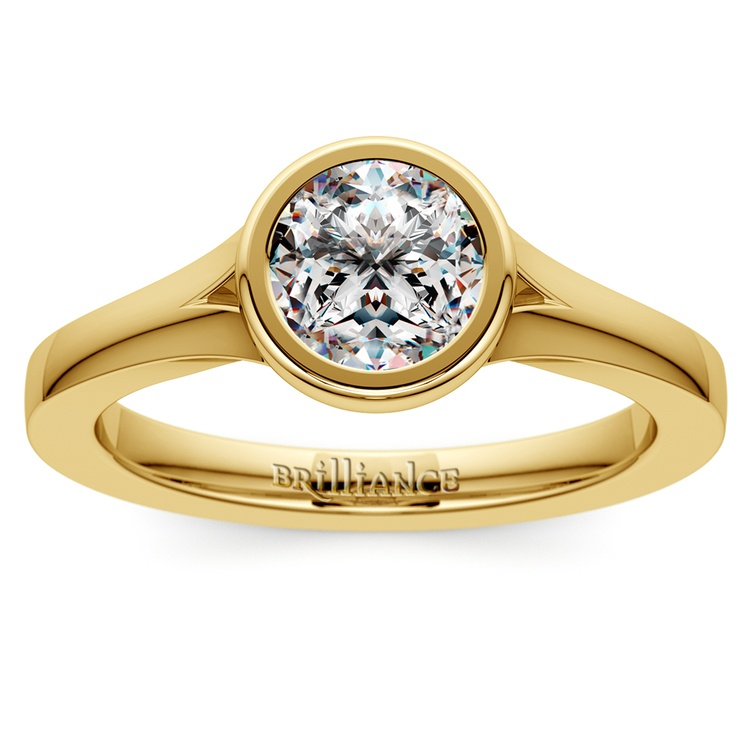 Floating Bezel Solitaire Engagement Ring in Yellow Gold | 01