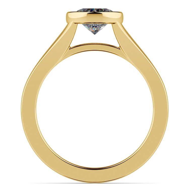Floating Bezel Solitaire Engagement Ring in Yellow Gold | 02