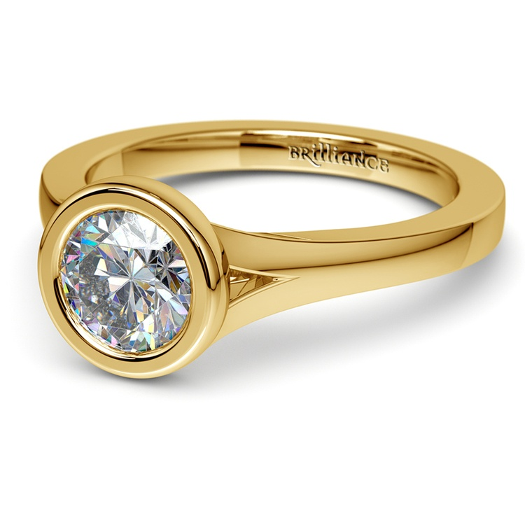 Floating Bezel Solitaire Engagement Ring in Yellow Gold | 04